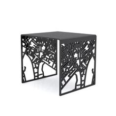 You Are Here London Stool Black by designer Geof Ramsay - laser cut map of London