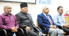 SAC chairperson (2nd from left) Justice B A Khan flanked by Justice J P Singh (Member SAC) JU VC Prof. R D Sharma and Head & Dean Faculty of Law Prof Arvind Jasrotia during an interactive session on Tuesday.  -Excelsior/Rakesh
