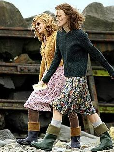 This is how I would like to walk the dogs, or how I would have done it in days gone by! Pretty skirt teamed with a chunky knit and a pair of wellies - what's not to love!