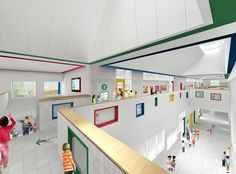 New York's First Net Zero Energy School designed by SOM features internal scaled windows and external, enabling plenty  of natural light to flood the interior spaces.