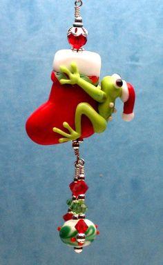 Made to order Margo lampwork beads Christmas stocking black frog on Etsy, $20.00