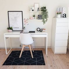 Neutral home office with wall shelves and wall art - white black wood #neutralhomeoffice