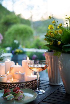 Evening picnic. quiet. calm.