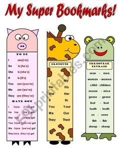 The second part of funny grammar and vocabulary bookmarks for kids.It includes: verbs to be and to have, months of the year, farm animals, irregular. English Activities For Kids, English Grammar For Kids, Learning English For Kids, Teaching English Grammar, English Grammar Worksheets, English Lessons For Kids, Grammar Activities, Kids English, Learn English