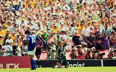 1994 WorldCup Final: Taffarel the Brazil keeper celebrates while Italy's Baggio does the exact opposite.