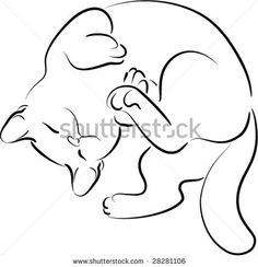 45 New Ideas Cats Logo Sleeping Sleeping Drawing, Cat Sleeping, Baby Kittens, Cats And Kittens, Cats Bus, Kitten Tattoo, Kitten Drawing, Cat Anatomy, Cat Sketch