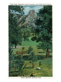 Rocky Mt. National Park, Colorado - View of the Twin Owls. Estes Park, 1938