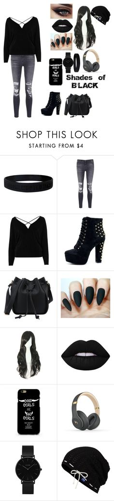 """""""Shades of BLACK"""" by darkangel707 ❤ liked on Polyvore featuring J Brand, River Island, Lime Crime, Beats by Dr. Dre, CLUSE and Keds"""