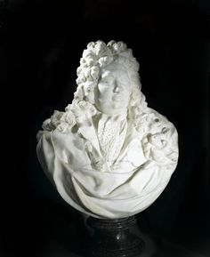 Marble bust of Fabio Feroni, Marchese di Bellavista, dressed in a full-flowing baroque wig, coat with large buttons, and knotted cravat: Italian, Florence, by Giovacchino Fortini, c. 1701 – 1702. Marble Bust, Cravat, Large Buttons, Precious Metals, Baroque, Florence, Wig, Ivory, Sculpture