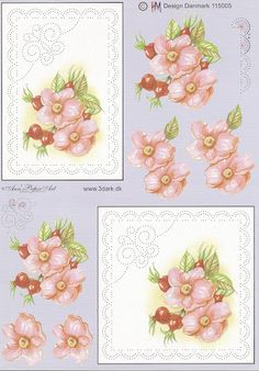 Sweet and simple Embroidery Cards, Embroidery Patterns, Floral Print Design, Floral Prints, Decoupage, Paper Art, Paper Crafts, Art Carte, Sewing Cards
