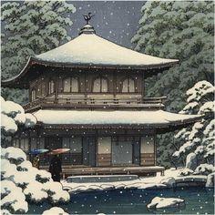 Kawase Hasui détail - Temple Ginkakuji à Kyoto sous la neige 1951 (HK40)