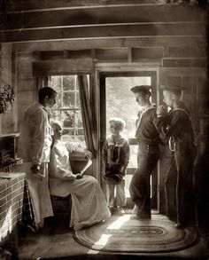 """cardstumble: """" birdsong217: """" Gertrude Käsebier """"The Clarence White family in Maine. Mrs. Clarence White, seated by window in light,…"""