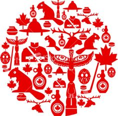 Canadian Icon Montage Royalty Free Stock Vector Art Illustration