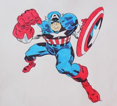 This is a drawing I made of Jack Kirby's Captain America. I used pen and color pencils, rather than using digital coloring. It helps it have that old style comic book coloring.