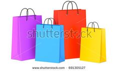 Set of Colorful Empty Shopping Bags, 3d illustration, 3D render, isolated on white background
