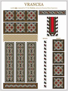 Semne Cusute: ie din MOLDOVA, Vrancea, Tichiris Cross Stitch Borders, Cross Stitching, Cross Stitch Patterns, Beading Patterns, Knitting Patterns, Laser Cut Patterns, Fantasy Concept Art, Embroidery Motifs, Mosaic Art