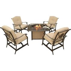 Classic Hanover 5-Piece Cast Tabletop Patio Furniture Sets With Fire Pit