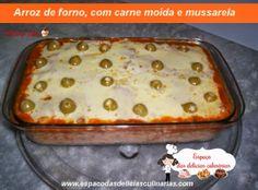 Arroz de forno, com carne moída e mussarela - Espaço das delícias culinárias