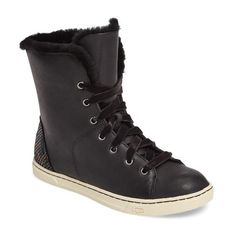Women's Ugg Croft Exotic Velvet Sneaker ($150) ❤ liked on Polyvore featuring shoes, sneakers, black leather, high top sneakers, velvet sneakers, high top shoes, black sneakers and velvet high top sneakers