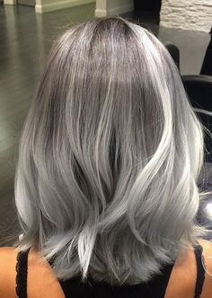 40 Absolutely Stunning Silver Gray Hair Color Ideas, These 40 absolutely stunnin. - - 40 Absolutely Stunning Silver Gray Hair Color Ideas, These 40 absolutely stunning silver gray hair color ideas should not be considered as granny hair. Gray Hair Highlights, Transition To Gray Hair, Silver Grey Hair, Silver Hair Colors, Silver Ombre, Short Silver Hair, Long Gray Hair, Silver Blonde, Golden Blonde