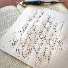 Quickly wrote this for and lots of issues. Will redo it better another day. I love that God has our future in His… Calligraphy Tutorial, Calligraphy Drawing, Copperplate Calligraphy, Calligraphy Words, Hand Lettering Tutorial, How To Write Calligraphy, Calligraphy Handwriting, Calligraphy Alphabet, Penmanship