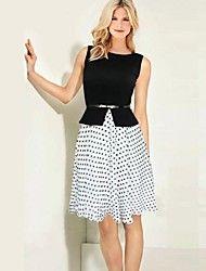 Women's Vintage Round Collar Fake Two Belt Polka Dots Sleeveless Dress