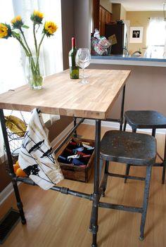idea for console table pipe furniture