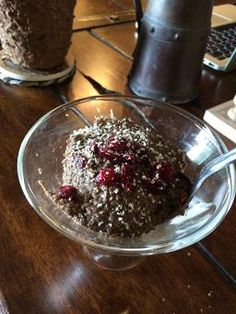 Chocolate chia seed pudding with a kick of cayenne topped with dried cranberries! Follow the link for the delicious and healthy snack =] #chiaseeds #healthy #cleaneating #vegan #yummo