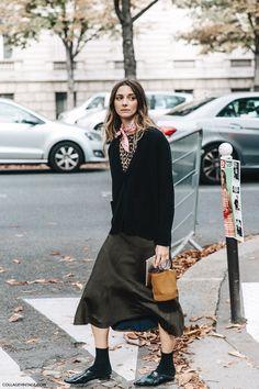 PFW SS 2016 | Street Style | Midi Skirt, Miu Miu Loafers, Leopard Print Tee, Cardigan, Pink Scarf | Photo: collagevintage.com