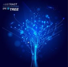 dynamic technological background nodes of light in tree form