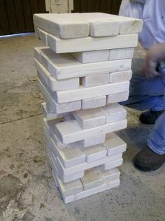 Smaller version of lawn Jenga --- this is going to be a must for my hubby to make!  My kids will love this!