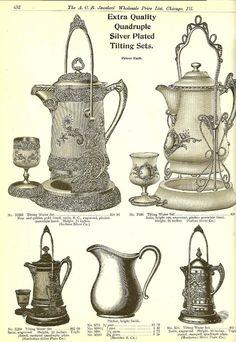 EXTRA quality quadruple silver plate tilting tea sets.    - Morning Glory Jewelry