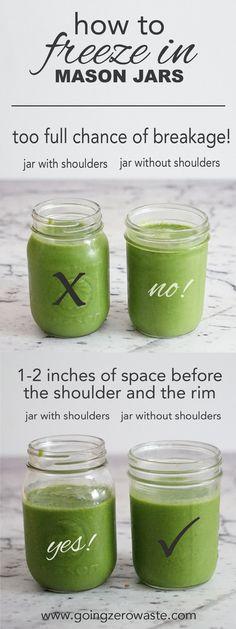 How to freeze in mason jars from www.goingzerwaste.com. Avoid food waste / zero waste / mason jars