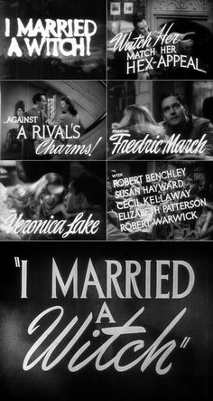 i married a witch | Married a Witch (1942) trailer typography - the Movie title stills ...