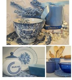 Blue and White Victorian Decor | ... Paintings and White Country Dishes Victorian Plates Toile Decor