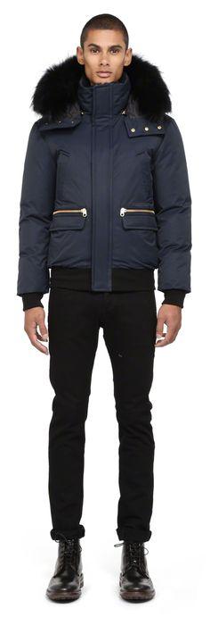 Mackage - COHEN NAVY BOMBER DOWN JACKET FOR MEN WITH REMOVABLE FUR HOOD. www.mackage.com #menswear #fw14 #wintercoat #fur #parka #luxuryouterwear