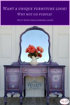 This piece is so stunning! It is painted with Dixie Belle Paint in Aubergine, Lucky Lavender, and Soft Pink and is coated in Clear Coat Satin with Anastasia Gilding Wax for detailing. Purple Furniture, Chalk Paint Furniture, Funky Furniture, Refurbished Furniture, Repurposed Furniture, Furniture Projects, Furniture Makeover, Vintage Furniture, Urban Furniture