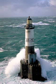 Lighthouses of Iroise - Lighthouse of Ar-Men built on the rock bearing that name, off the Chaussée and Ile de Sein. Beacon Of Light, Light Up, Sea Storm, Windmill, Brittany, Costa, Sailing, Photos, Pictures