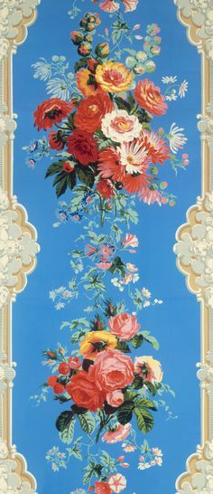 Wallpaper framed by rococo pilaster motifs, about 1850-60. Museum no. E.771-1955