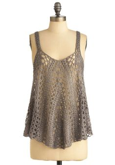 this dove-grey crochet top would be adorable when worn with a bandeau!