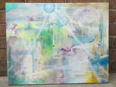 Prismatic 16x20 original painting by Tripp Doogan.  Available at www.etsy.com/shop/trippdooganart #art #abstract #painting #prismatic #prism #color #light #original #originalpainting #decor #homedecor #triangle #sphere #bubbles #wallart #modernart #contemporaryart