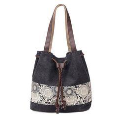 Women Canvas Casual National Style Shopping Bag Printing Bucket Shoulder Bags Handbags