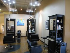 Small Hair Salon Interior Design Ideas With Recessed Lighting And Black Cabinets Also Chairs