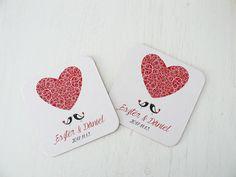Szíves, madaras esküvői poháralátét, madaras köszönet ajándék - heart, birds wedding coasters Drink Sleeves