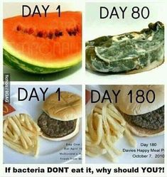 Food should decompose. McDonald's and fast food. You know it's not healthy,. healthy eating and nutrition. Real Food Recipes, Healthy Recipes, Healthy Options, Healthy Foods, Clean Eating, Eating Fast, Eat Better, Food Facts, Fitness Workouts