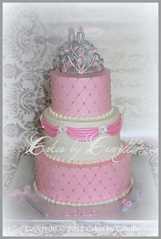 Pampered Princess Cake gumpaste crown, wand, and slipper accents this pampered princess cake. Fondant Crown, Crown Cake, Princess Tea Party, Princess Birthday, First Birthday Cakes, Birthday Bash, Birthday Ideas, Birthday Parties, Royal Cakes