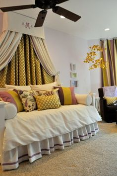 I love the window treatment and the bedding only I would use different colors but even so the way it looks right now, it is very luxurious looking and very comfortable. I really like the look of it and it looks expensive and very girly and I LOVE it a lot.