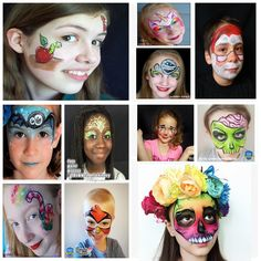 30 Quick & Easy Face Paint Ideas For Kids: Tutorials & Videos Bat Face Paint, Bunny Face Paint, Zombie Face Paint, Skeleton Face Paint, Tiger Face Paints, Butterfly Face Paint, Easy Face Painting Designs, Face Painting Tips, Hello Kitty Face Paint