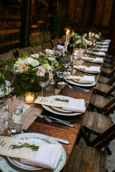 Reclaimed Barnwood Farm Tables for an Intimate Family-Style Rustic Urban Wedding Reception at Brooklyn Winery Wedding Centerpieces, Wedding Decorations, Table Decorations, Diy Decoration, Decor Wedding, Floral Centerpieces, Wedding Table Settings, Place Settings, Wedding Table Setup