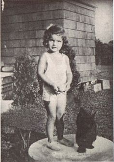 Jackie Bouvier with Hoochie a Scottish Terrier, often identified as the first she owned, 1932.